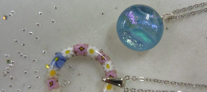 オープンペンダントとリンプルペンダント【ガラス体験】